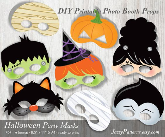 DIY Halloween Party printable masks photo booth by JazzyPatterns $6.22  INSTANT DOWNLOAD