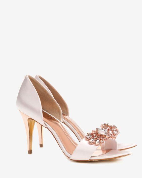 rose gold and nude pink embellished cut out shoes leder schuhe und pink. Black Bedroom Furniture Sets. Home Design Ideas