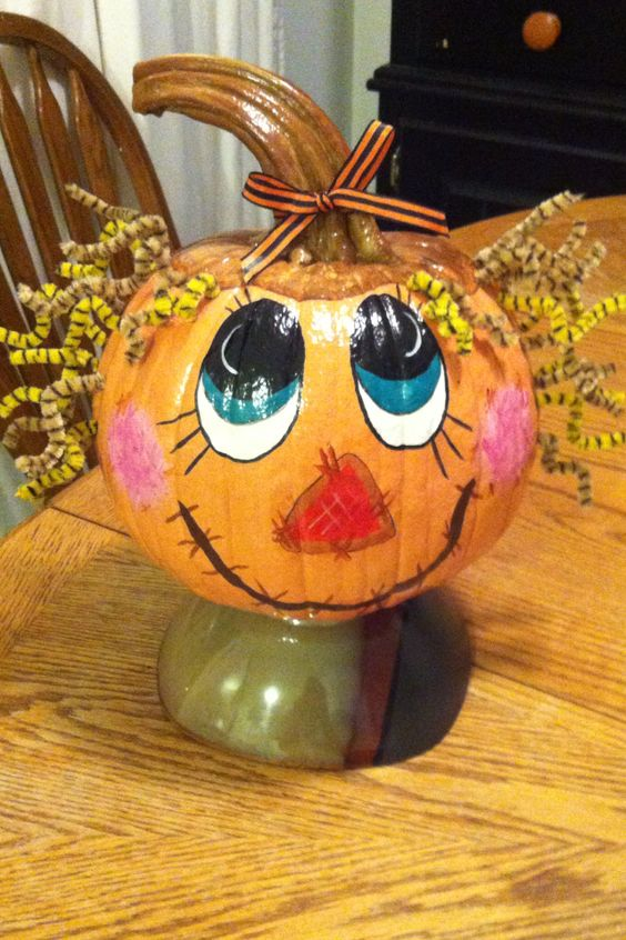 Painted scarecrow pumpkin halloween pinterest Funny pumpkin painting ideas