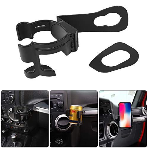 Savadicar Multi Function Drink Cup Phone Holder 2 In 1 Bolt On Stand Bracket Organizer For 2012 2018 Jeep Wrangler Jk Jku Sahara Rubicon Unlimited Jeep Wrangler Jeep Wrangler Jk Wrangler Jk