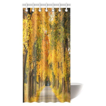 Mypop Woodsy Shower Curtain Forest Woods Falling Leaves Fall Park Road Autumn Leaves Country Country Bathroom Bathroom Shower Curtains Curtain Hooks