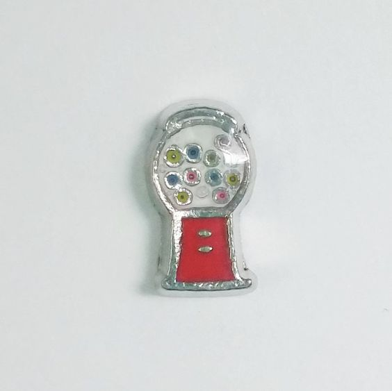 1 PC - Gumball Machine Food Candy Enamel Silver Charm for Floating Locket Jewelry F0251