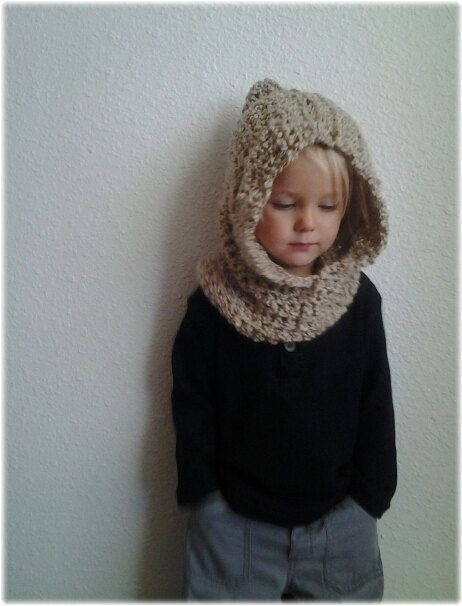 Free Knitting Pattern Hooded Neck Warmer : Hooded Cowl. Kids Crochet Cowl. Crocheted Neck Warmer with ...