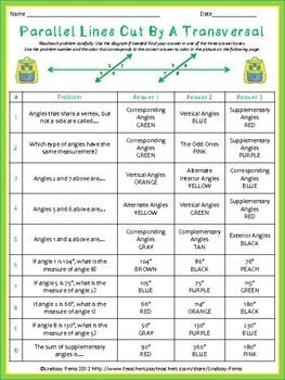 Printables Parallel Lines Cut By A Transversal Worksheet parallel lines cut by a transversal coloring worksheet about this resource activity is fun way for students to review the vocabulary and skills associated with that have be