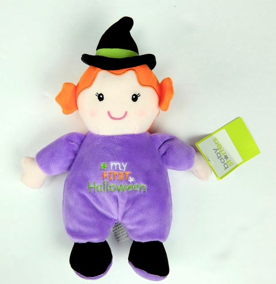 """My First Halloween Baby Rattle 10"""" Plush Witch Doll #BabyStarters"""