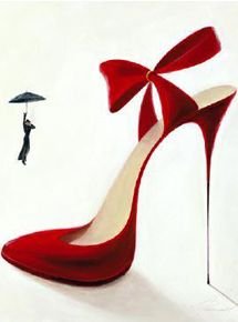 """Inna Panasenko """"Obsession"""" The shoe as an art object: The painter Inna Panasenko asks the question """"What can a man do who encounters a woman in Stilettos?"""" """"High Heels"""" with each image from the series"""