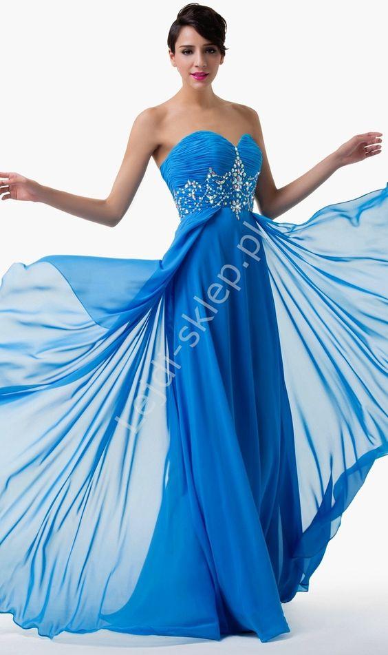 Niebieska Wieczorowa Sukienka Z Krysztalkami Gorsetowe Niebieskie Sukienki Dresses Fashion Formal Dresses