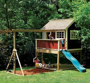 Details about kids outdoor wooden playhouse swing set Outdoor playhouse for sale used