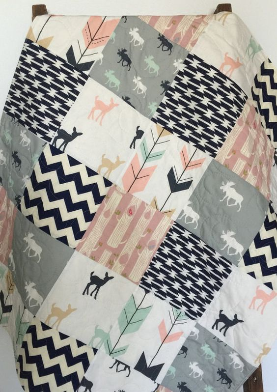 Baby Quilt, Girl, Moose, Bow and Arrow, Fawn, Woodland, Birch Forest, Deer, Navy, Mint, Pink, Gray, Crib Bedding, Baby Bedding, Children: