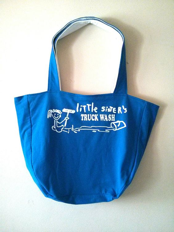 OKA BAG - Blue+White // 100% Handmade // Repurposed // Upcycled // Reversible // Tote Bag // Grocery Bag // Book Bag //