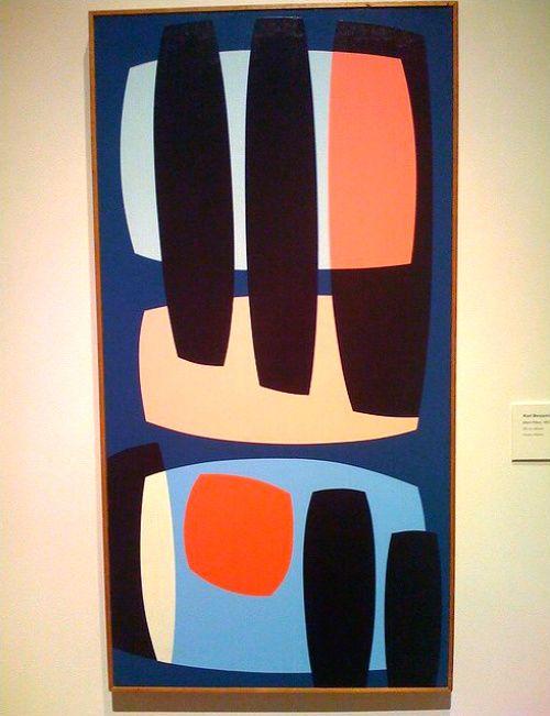 Karl Benjamin, Black Pillars, 1957, oil on canvas.