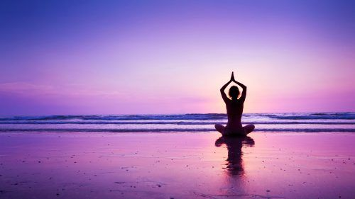 Yoga Wallpaper With Girl In A Purple Sunset At Beach Hd Wallpapers Wallpapers Download High Resolution Wallpapers Yoga Background Purple Sunset Yoga Images