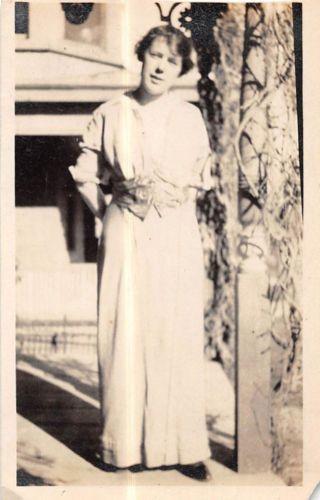 Photograph Snapshot Vintage Black and White: Woman Dress Smile Yard 1920's