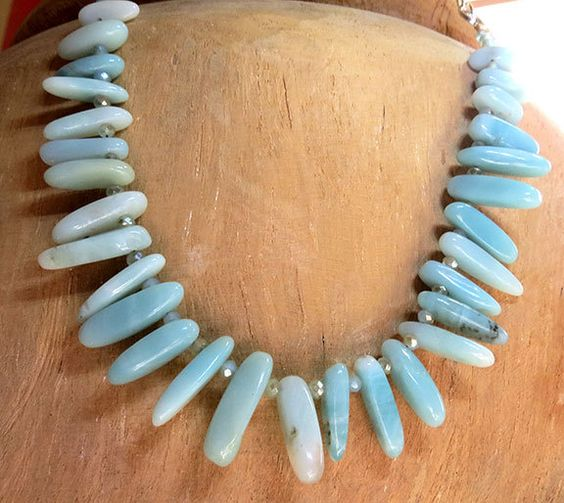 Amazonite Spike and Crystal Necklace - Handmade Jewelry by SolsticeDesigns1 on Etsy