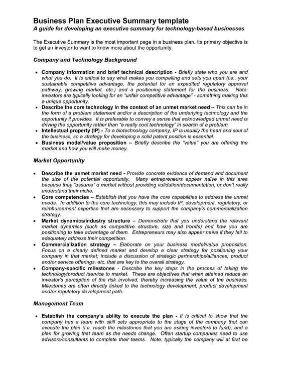 Executive Summary Proposal Template  Executive Summary Outline Examples Format