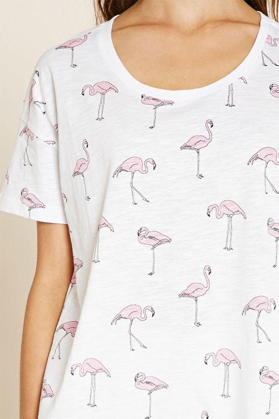 Flamingo Print Tee: