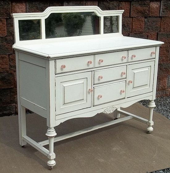 shabby french country white chic buffet server sideboard table cupboard w mirror via. Black Bedroom Furniture Sets. Home Design Ideas