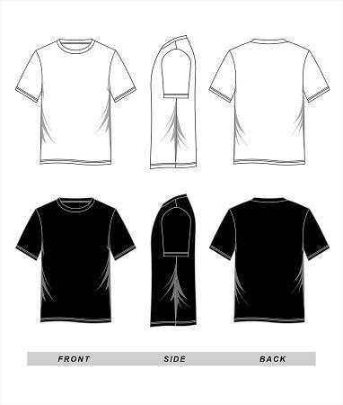 Download T Shirt Template Blank Black White Front Back Side Vector Image Baju Kaos Kaos Pakaian
