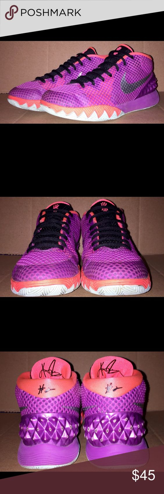 💥COMFY💥Nike Kyrie 2 Youth Basketball Shoes sz 5y Nike Kyrie 1's blends lightweight, zonal support w/ responsive cushioning, while the shoes design supports fwd movement so youre ready to move. Hyperfuse construction optimizes lightweight breathability & durable support. Areas of open mesh provide breathability. Foam midsole provides responsive cushioning for quick takeoff. Modified herringbone outsole pattern. 3 wide outsole channels allow for forefoot flex. Spikes on back of shoes have a…