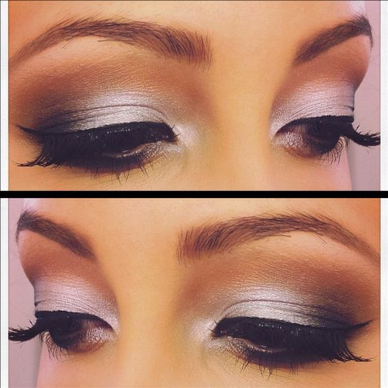 Silver Smokey eyes. Tip: try using. Warmer crease color when using cool toned shadows to make your eye makeup pop!#Repin By:Pinterest++ for iPad#