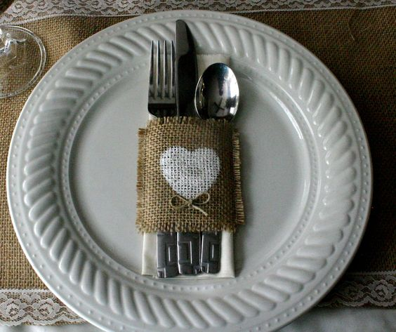 Burlap silverware holders, Country wedding decorations, Burlap wedding decorations 100 for 150. $2.20, via Etsy.