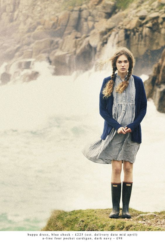 dress, wellies, cardigan, outfit, style, fashion, two plaits, hairstyle, autumn, spring, bare legs