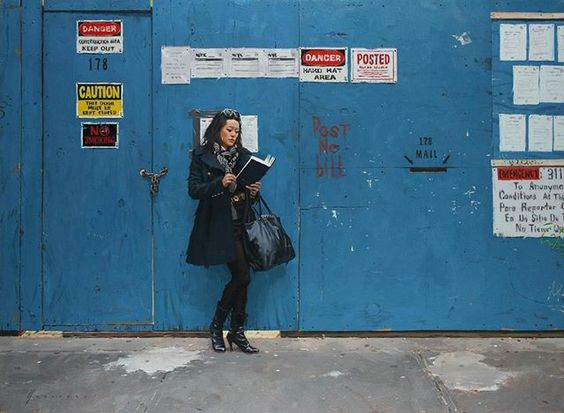 Blue Wall oil on canvas  #newyorkcity #contemporaryrealism #oilpainting #fineart #blue #urbanportrait