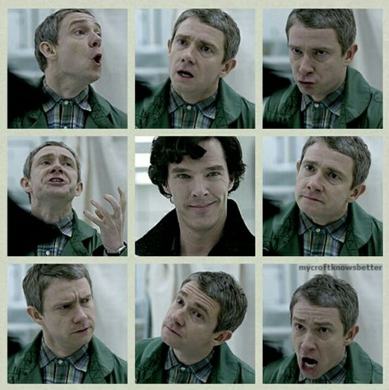 """Sherlock's face in the middle is just priceless while John rages around him."" I'm pretty sure this is one of the only reasons why Martin was hired-his facial expressions."
