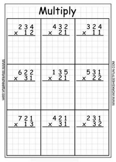 math worksheet : multiplication  3 digit by 2 digit  printable worksheets  : Three Digit Multiplication Worksheets