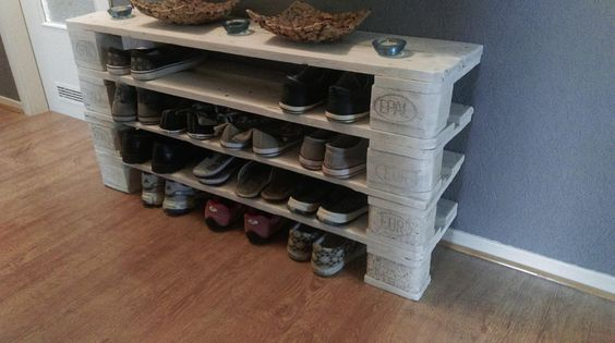 palettenm bel schuhregal aus europalette no 1 storage. Black Bedroom Furniture Sets. Home Design Ideas