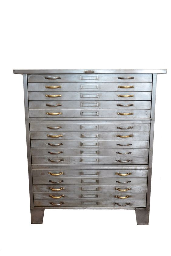 decur8 | 1930s industrial flat file cabinet...line the drawers with velvet fabric and this would be perfect for jewelry storage!.....so want this