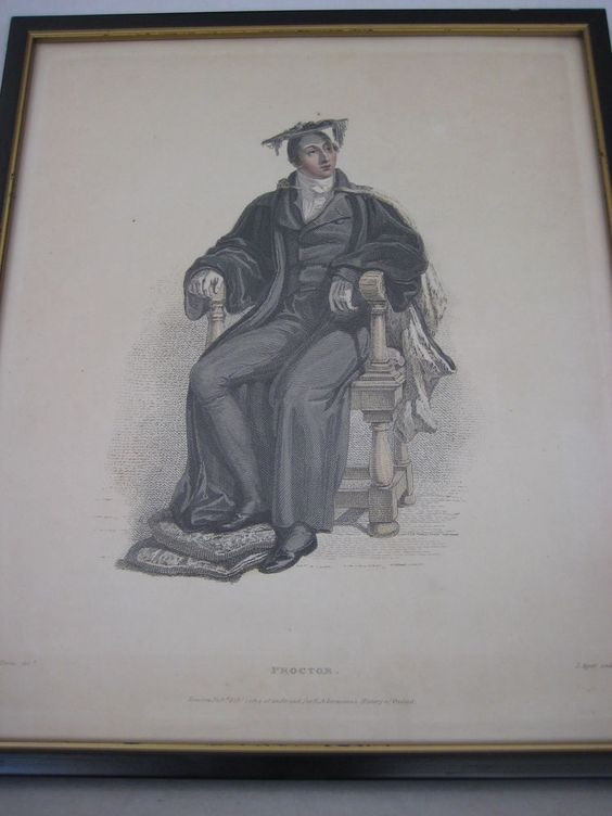 "Vintage Aquatint Etching Print ""Proctor"" By T. Uwins, 12"" X 10"" (Image)"