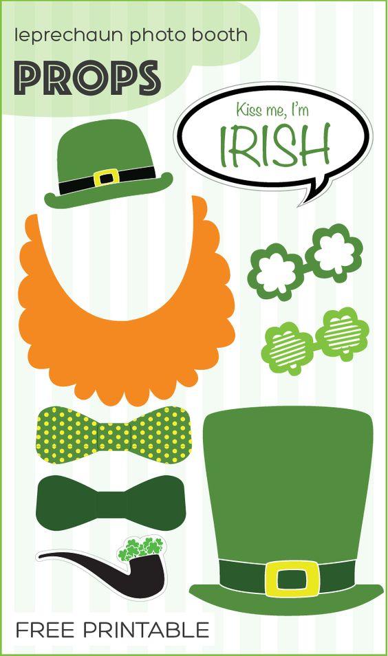 free printable St. Patrick's Day leprechaun photo booth props   www.paperloving.com