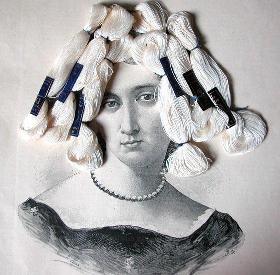 Sara Huete, art, collage, woman, thread