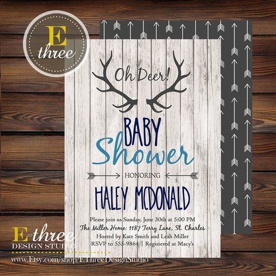 Rustic Baby Boy Shower Invitations - Deer Antler Baby Boy Shower Invitation - Navy, Gray, Light Blue - Rustic Wood, Arrows, Deer Antler