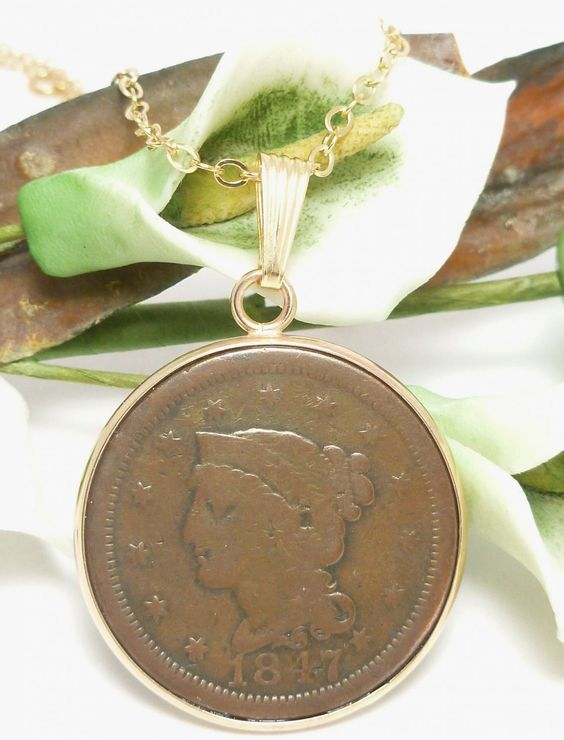 Vintage Large Cent Penny 1847 coin pendant. The pendant size is 1.66 inch in length and 1.25 inch in width. Handcrafted bezel, 14kt gold filled. @dianesdangles  #bmecountdown: