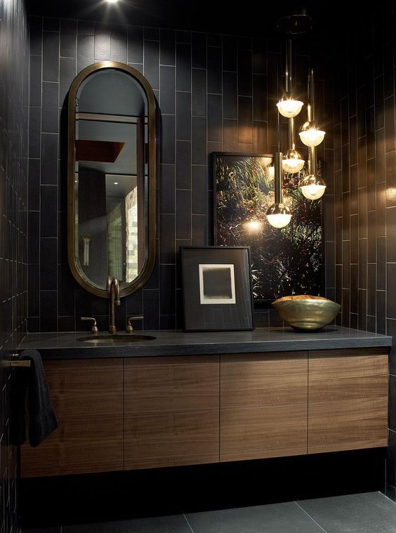 Bathroom : Dark Bathroom With Black Tile Also Wall Tile, Dark Flooring,  Gray Tile, Dark Brown And Wooden Cabinet 33 Dark Moody Bathroom Designs  That Impress ...