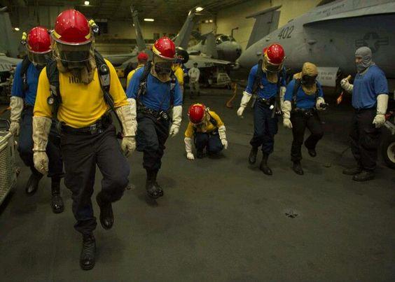 Sailors aboard USS Eisenhower CVN-69 Do foriegn object walk down drill emergency preparedness training exercise Atlantic Ocean