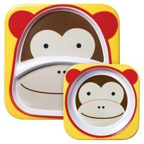 Skip Hop Zoo Little Kids & Toddler Melamine Tableware Set, Monkey : Target