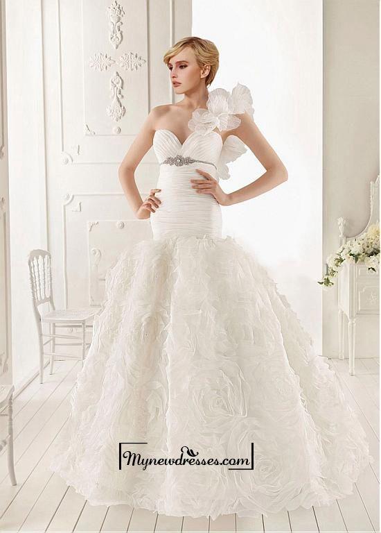Amazing Organza Mermaid One Shoulder Neckline Empire Waist Ruffled Wedding Gown With Beadings #Vestidos de #novia