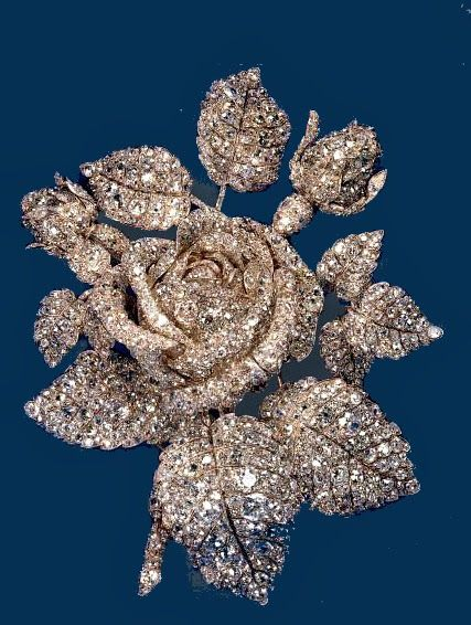 "PRINCESS MATHILDE BONAPARTE DIAMOND ROSE BROOCH~ Created for for Napoleon's niece by Theodore Fester in 1855, the gold-and-silver-setting rose has 250 carats of diamonds. Mathilde ran one of Paris' most distinguished literary and artistic salons. When she died in 1904, the Rose was auctioned and sold by Cartier to Mrs. Cornelius Vanderbilt III, who wore it at the waist or bodice for portraits and other formal occasions in her role as ""Queen of Society."":"