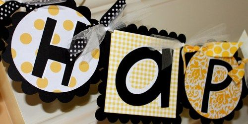 Bumble Bee Happy Birthday Banner In Yellow Black And White Dots