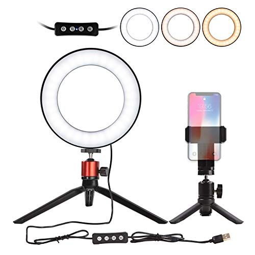 Nugilla 6 Selfie Ring Light With Tripod Stand Cell Phone Holder For Live Stream Makeup Mini Led Camera Ligh Selfie Ring Light Cell Phone Holder Phone Holder