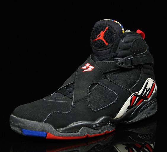 Air Jordan 8 Retro Playoffs Black Black True Red  shoes