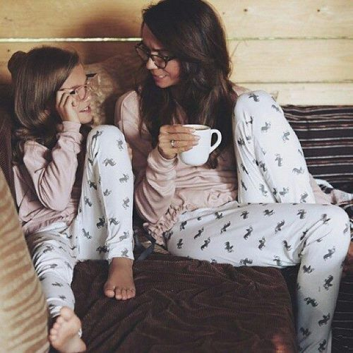 Mommy and daughter matching pajamas. @GolddennGoddess