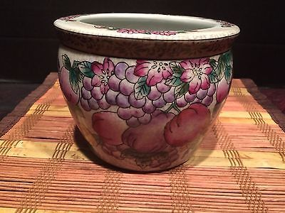 Vintage-Asian-Hand-Painted-Flower-and-Fruit-Pot-Planter-4-1-2-x5-3-4