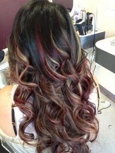 dark brown hair with red highlights google search fall