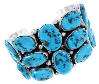 """Native American Sleeping Beauty Turquoise Bracelet Cuff MW64960 SilverTribe. $799.99. Native American Sleeping Beauty Turquoise Bracelet Cuff MW64960. MATERIALS: Sterling silver and Sleeping Beauty Turquoise.. MEASUREMENTS: The inner bracelet circumference measures approximately 5-7/8"""", plus a 1-1/2"""" opening, and 1-3/4"""" at widest point. The bracelet weighs 113 grams.. Southwestern Jewelry"""