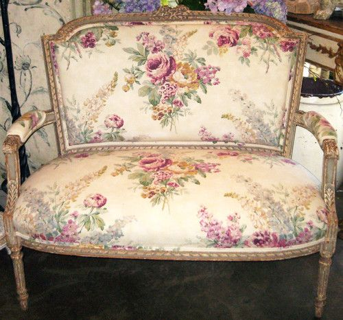 Antique 19th Century French Louis XVI Style Painted Settee Bench