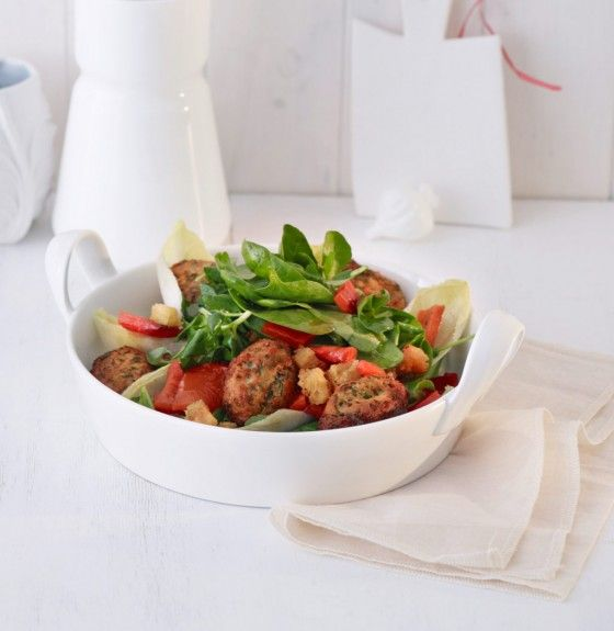water cress salad with german cheese dumplings